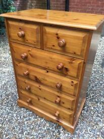 Solid pine chest of drawers with dovetail joints. Delivery Available