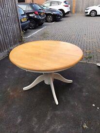 Round Cream and Pine Kitchen Table