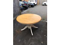 Round Cream and Pine Kitchen Table