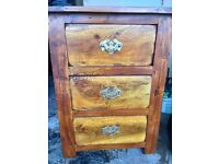 Solid wood bedside cabinet with drawers - great condition