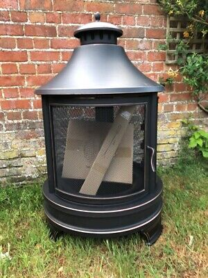 Large Garden Fire Pit Outdoor Heater Log Burner BBQ With Swing Out Grill