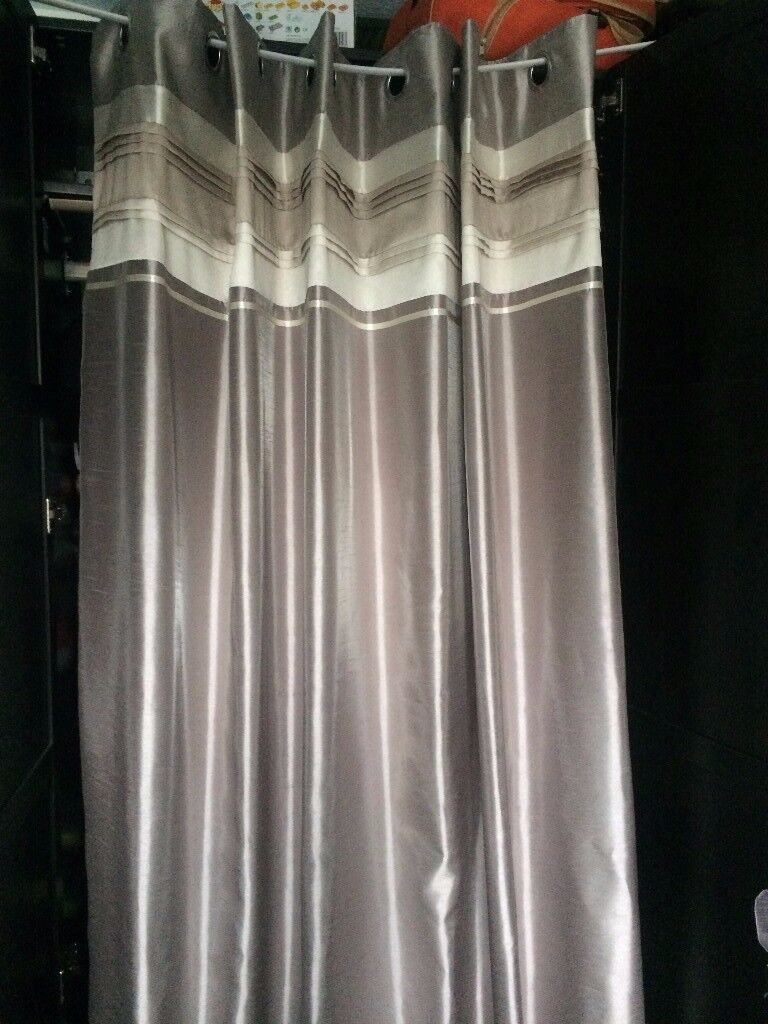 BARGAIN CLEARENCE 2x MODE Luxury Living Elegant Curtains Shiny Creamy Silver Gold