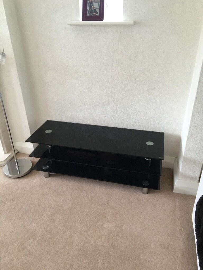 Dwell black glass tv unit shelving unit coffee table for Coffee tables gumtree london