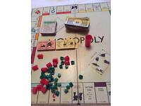 Vintage 1960 Monopoly Parker brothers with Diecast tokens .