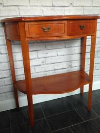 Half moon console table with 2 drawers. Dressing table