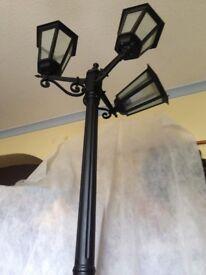 3 Headed aluminium street lamp, height 216cm (7ft)