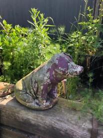vintage concrete pig garden ornament decoration prop