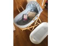 Moses basket and baby starter bundle
