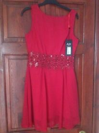 New AX Paris Red Laced Party Dress Size 10