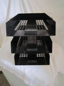 Set of 3 plastic filing trays. Black. As New. 2 sets available. Price is per set of 3 trays