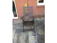 Wooden garden chairs and seat cushions