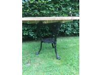 Garden Table / Alexander Rose Wooden Table Top, Cast Iron Base