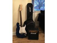 Fender Squier Guitar with Marshall Amp