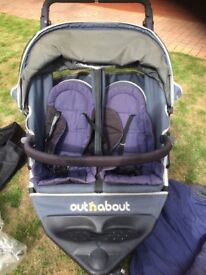 Out n about 360 double Nipper pushchair