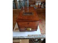 Antique vintage wooden till