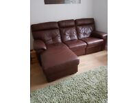 DFS 3 seater and 2 seater brown leather sofas