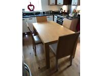 Modern beech dining room table & chairs