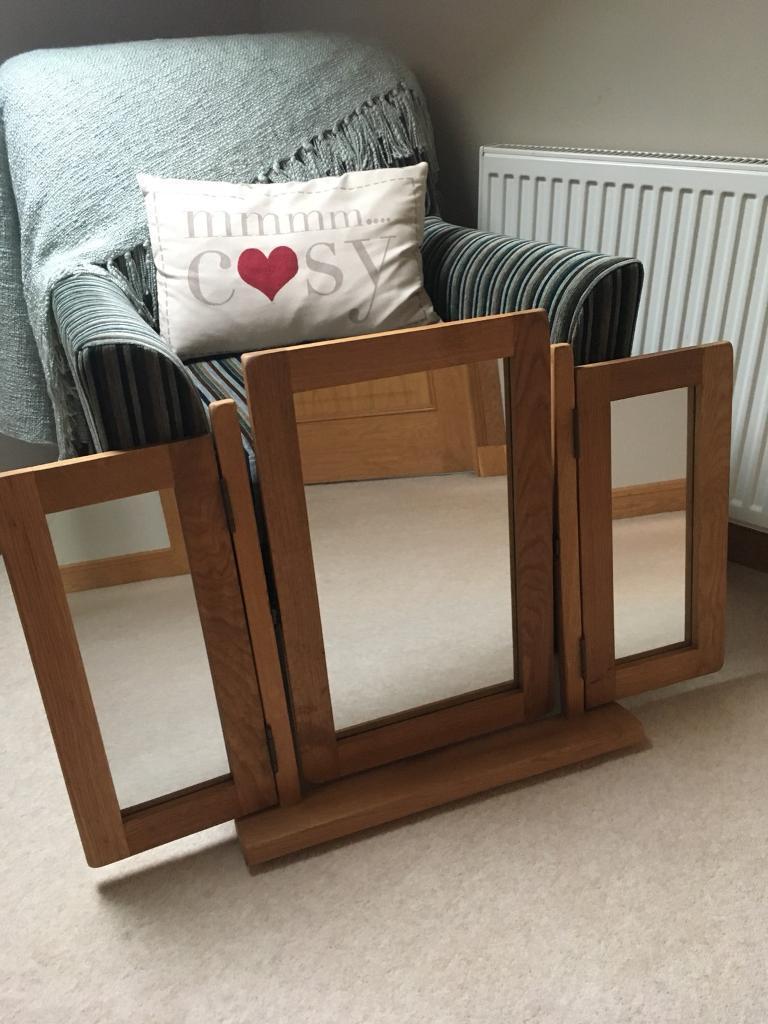 Oak triple mirror brand new