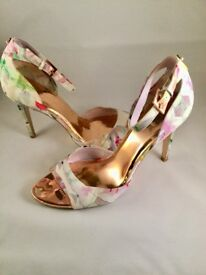 Ted Baker multi-fabric, ankle strap floral sandals, size 8