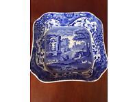 Vintage Copeland Spode Blue Italian Octagonal Porcelain Vegetable Dish Bowl