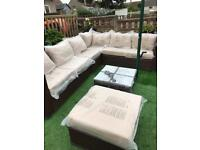 Yakoe Papaver Outdoor Grey Corner Sofa Rattan Set - Free Delivery Available