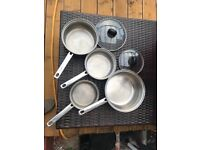 Viners Cookware Collection stainless steel sauce pan pot set 6 piece plus griddle grill pan
