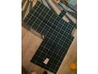Ancient Lamont Tartan fabric. Left over fabric light weight tartan.