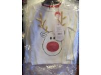 Brand new with tags...flashing nose reindeer top..MOTHERCARE