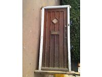 1930s solid wood front door with frame