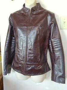 "Womens NEW M 8-10 RETRO MOTORCYCLE JACKET Sexy Fit Burgundy Leather Biker Coat No brand Cowhide 36"" Cafe Racer"