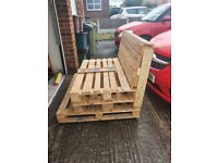 Pallet chair/bench on wheels