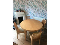 Circular dining table and 4 chairs (extending table) £120 Collection only