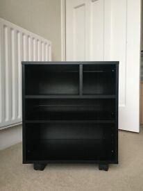 Underdesk wooden printer stand on wheels with storage unit