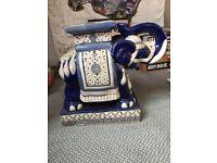 Ceramic large blue elephants