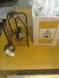 New and boxed 2 x tulip bulbs light lantern (ceiling)black/gold