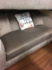 John Lewis new grey velvet sofa
