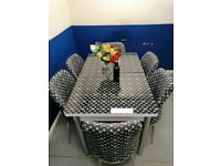 😍💕MODERN DESIGN SALE⭐⭐ ON VERSACE WHITE GLASS EXTENDABLE DINING TABLE WITH 6 CHAIRS