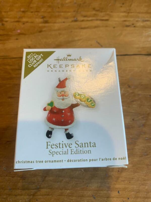 Hallmark Keepsake Ornament Festive Santa Local Club Gift Miniature Mini 2011