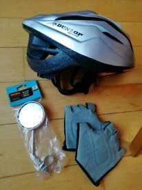Bike bundle. Brand new mirror and helmet. Gloves used a bit.