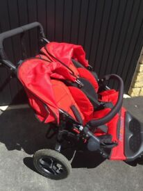 Out 'n' about Nipper double buggy V4-Red Immaculate condition