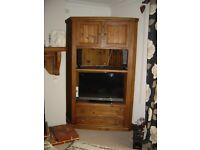 Solid pine quality corner cabinet and bookcase