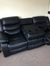 3 seater leather recliner