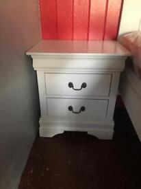 Designer white bedside table