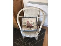Vintage white French style wicker chair