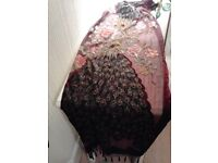 scarf - burgundy beaded with peacocks on it