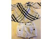 Worn once immaculate Burberry outfit age12 Months