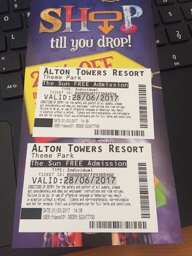 X 2 Alton Towers Tickets In Eastwood Nottinghamshire