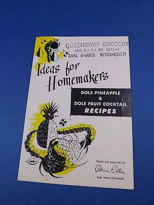 IDEAS FOR HOMEMAKERS RECIPE FLYER DOLE PINEAPPLE FRUIT COCKTAIL ADVERTISING - Pineapple Cocktail Recipes