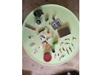 Tackle box with spinners, weights, swivels, floats, spare line and a box of hand tied flys