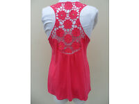 New Look, Pink Swing Vest / Tunic top with Crochet & Sequins Size 14